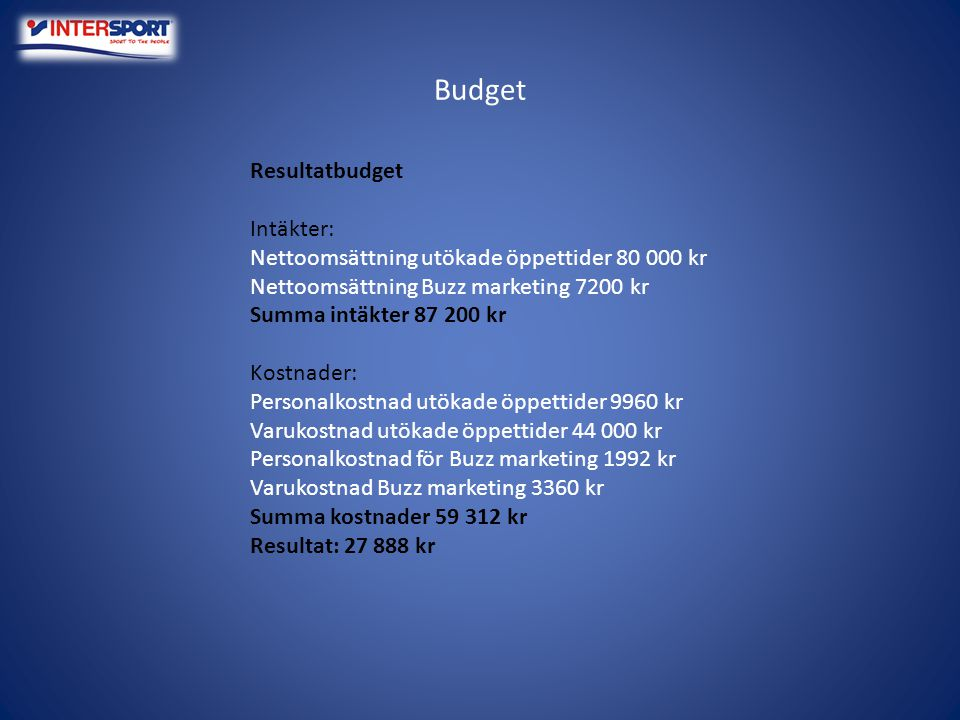 Budget Resultatbudget Intäkter: