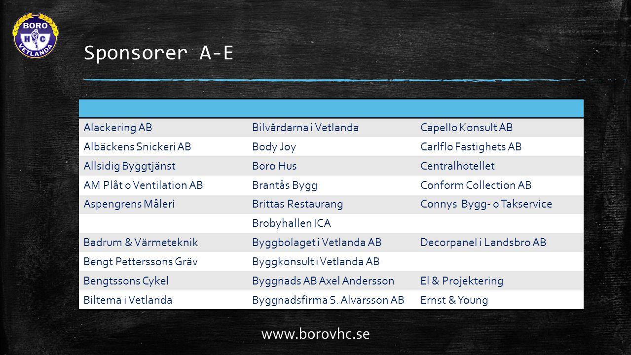 Sponsorer A-E www.borovhc.se Alackering AB Bilvårdarna i Vetlanda