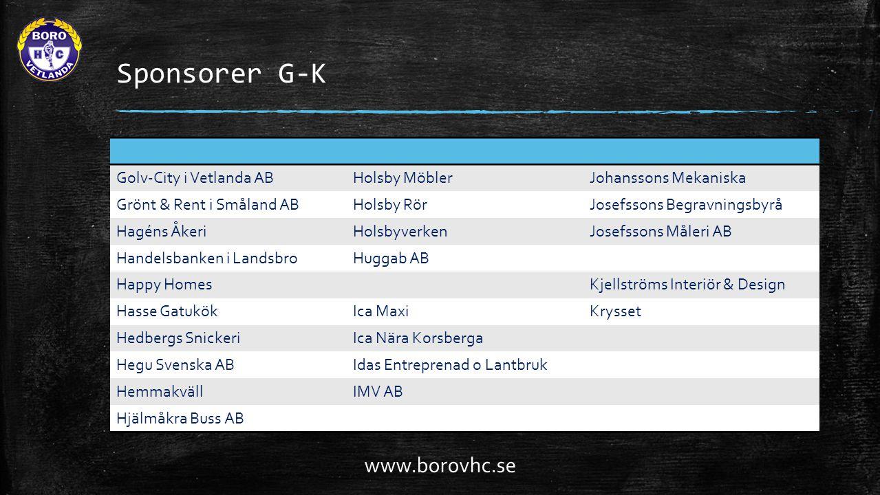 Sponsorer G-K www.borovhc.se Golv-City i Vetlanda AB Holsby Möbler
