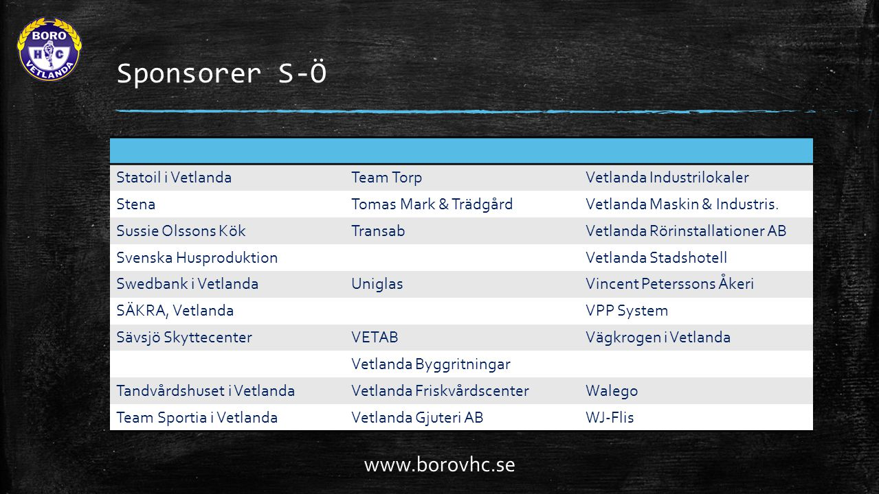 Sponsorer S-Ö www.borovhc.se Statoil i Vetlanda Team Torp
