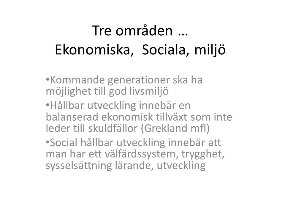 Tre områden … Ekonomiska, Sociala, miljö