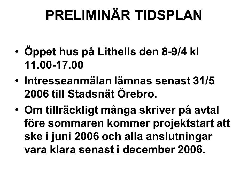 PRELIMINÄR TIDSPLAN Öppet hus på Lithells den 8-9/4 kl 11.00-17.00
