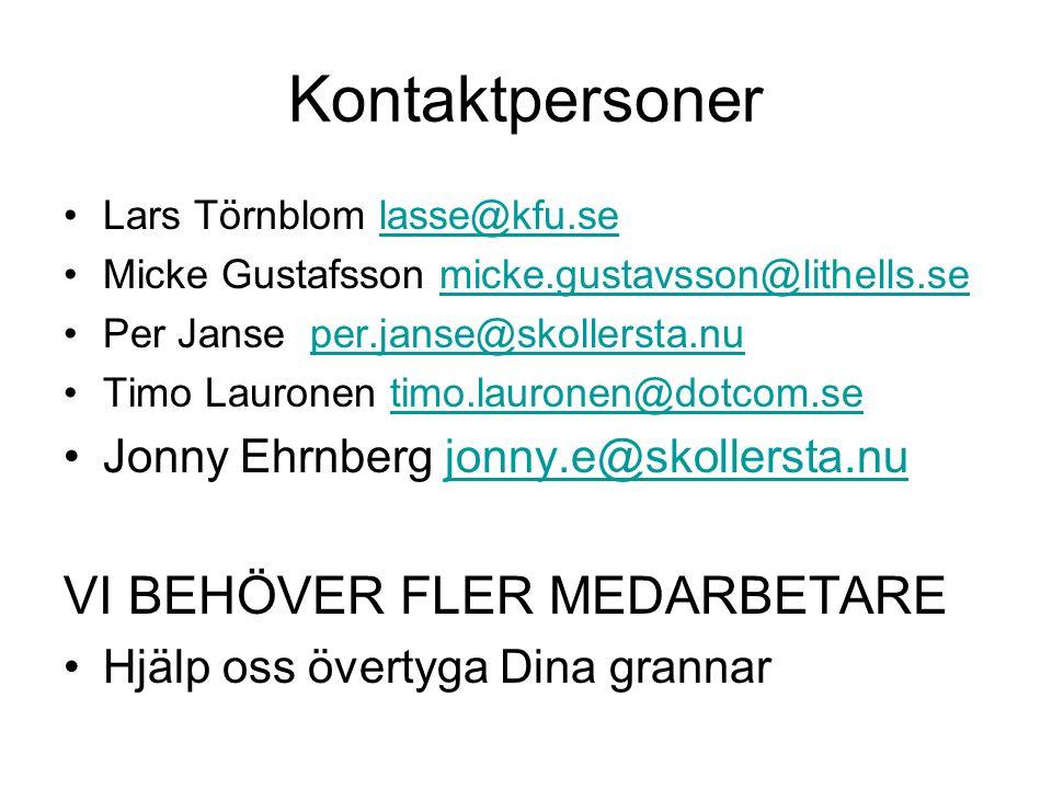 Kontaktpersoner VI BEHÖVER FLER MEDARBETARE