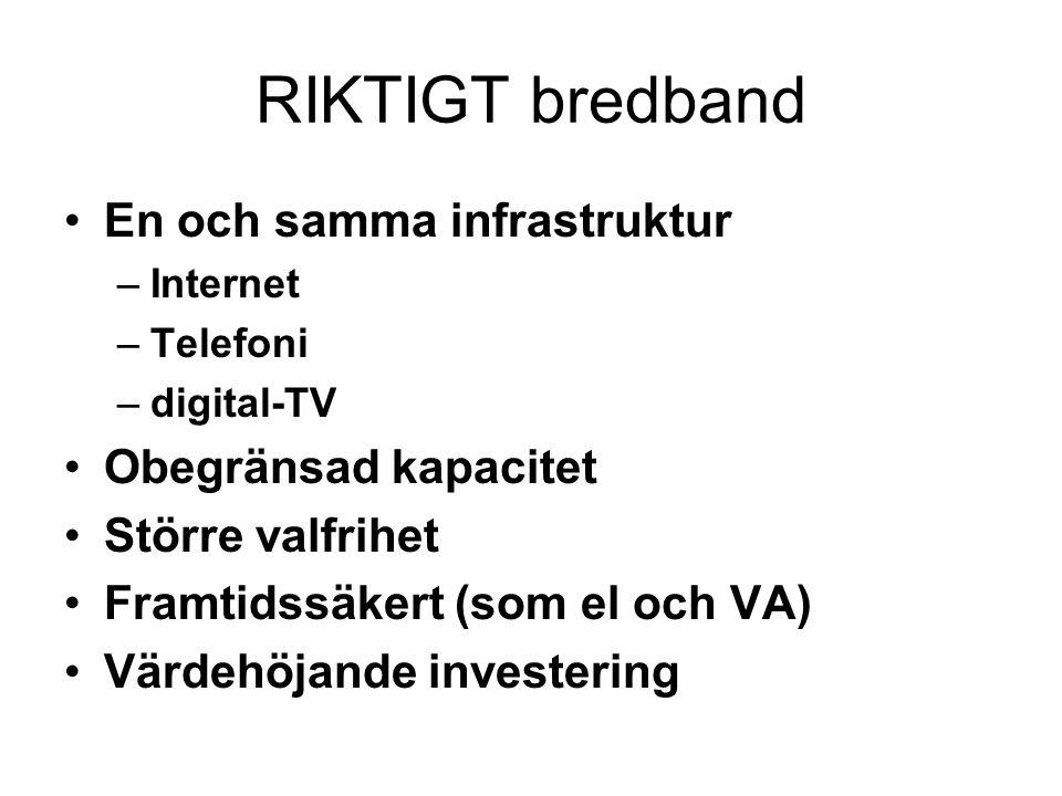 RIKTIGT bredband En och samma infrastruktur Obegränsad kapacitet