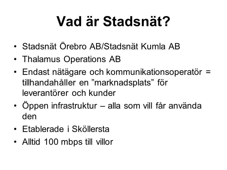 Vad är Stadsnät Stadsnät Örebro AB/Stadsnät Kumla AB