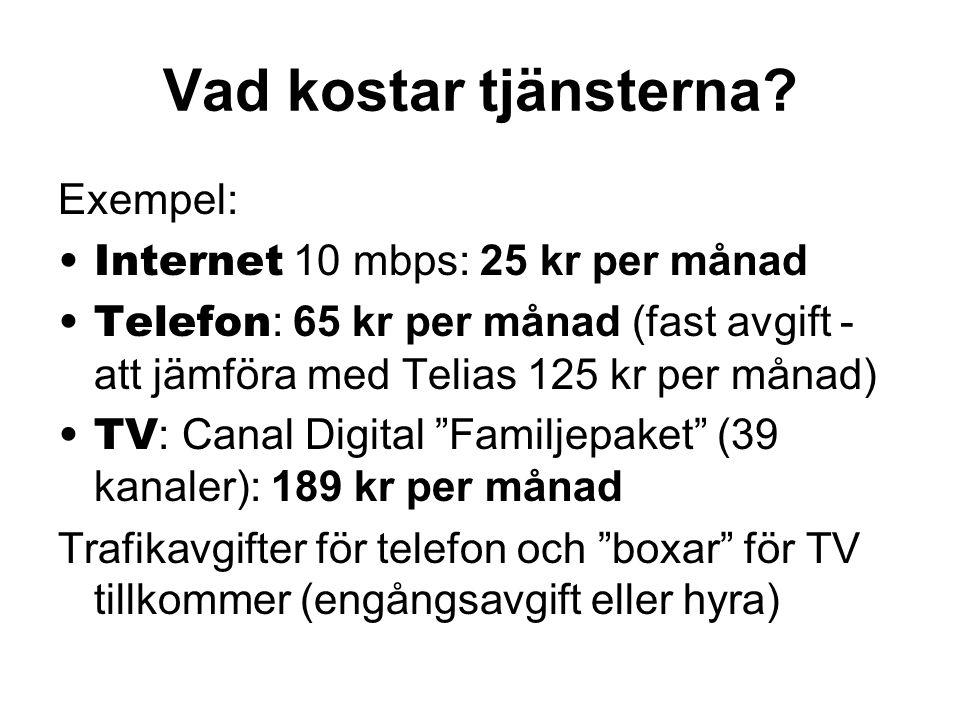 Vad kostar tjänsterna Exempel: Internet 10 mbps: 25 kr per månad