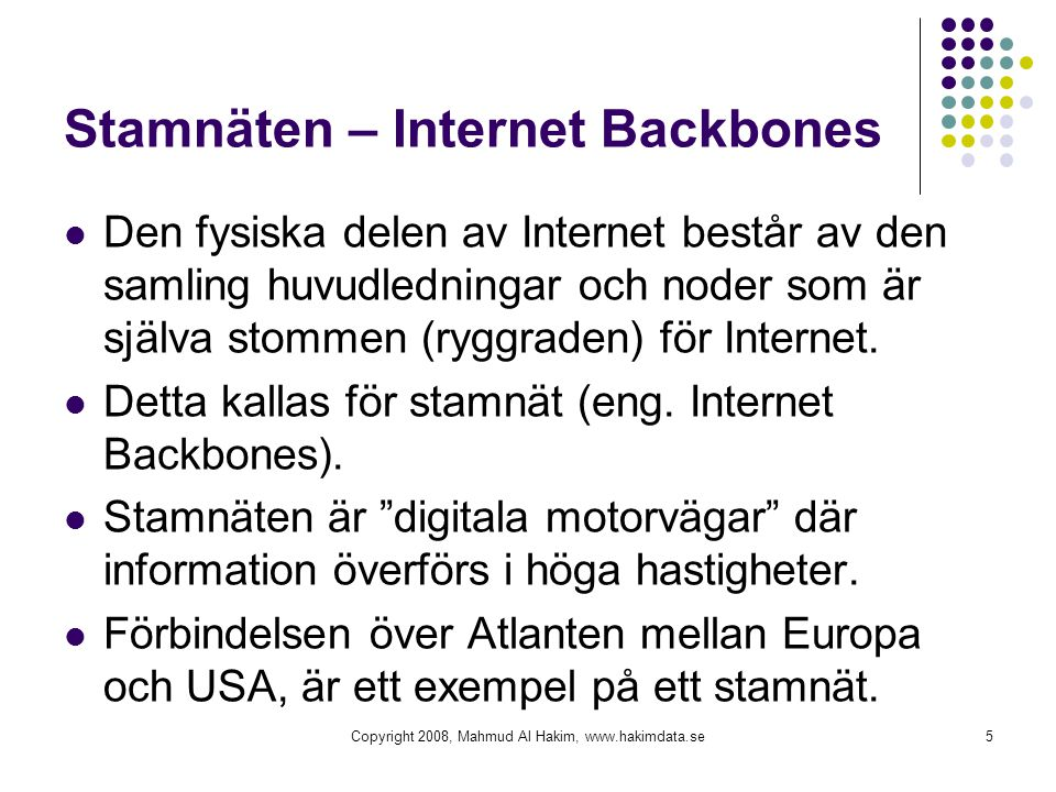 Stamnäten – Internet Backbones
