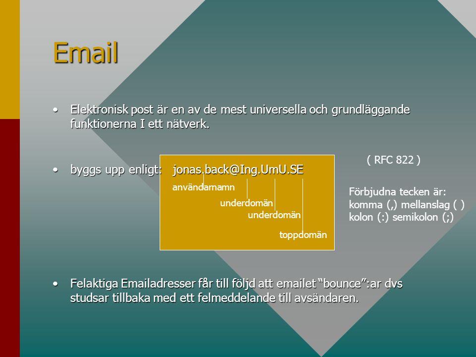 Email Elektronisk post är en av de mest universella och grundläggande funktionerna I ett nätverk. byggs upp enligt: jonas.back@Ing.UmU.SE.