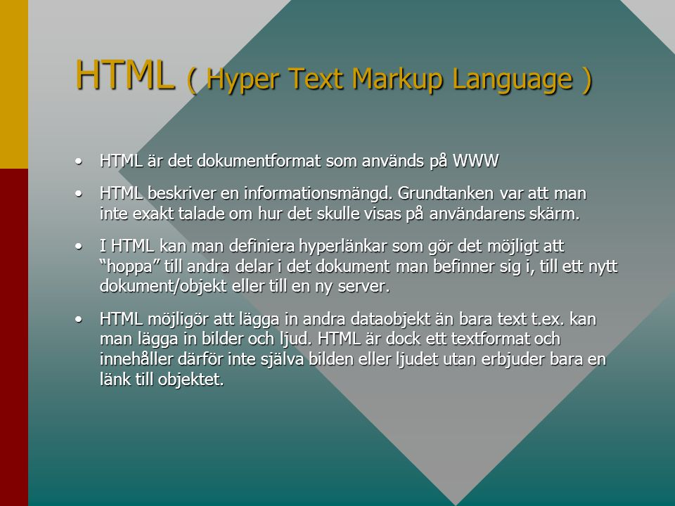 HTML ( Hyper Text Markup Language )
