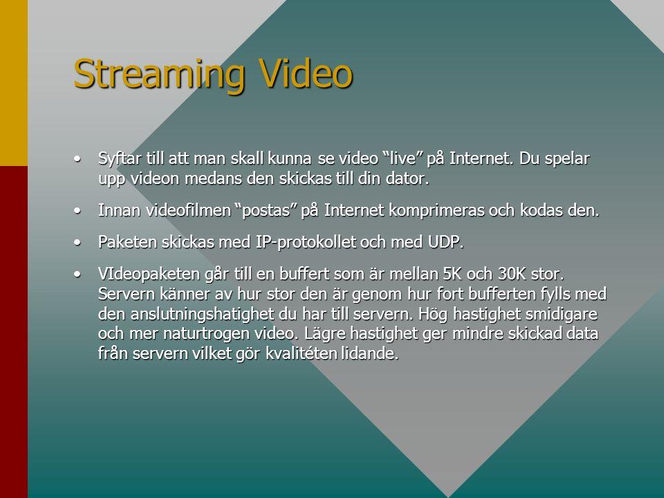 Streaming Video Syftar till att man skall kunna se video live på Internet. Du spelar upp videon medans den skickas till din dator.