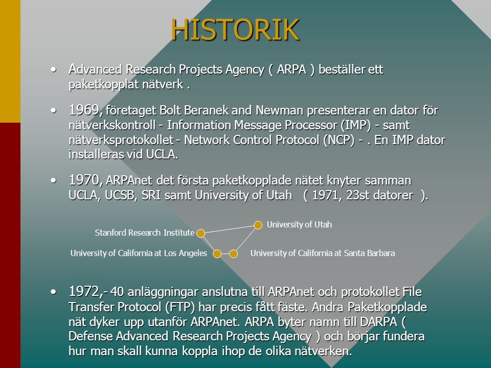 HISTORIK Advanced Research Projects Agency ( ARPA ) beställer ett paketkopplat nätverk .
