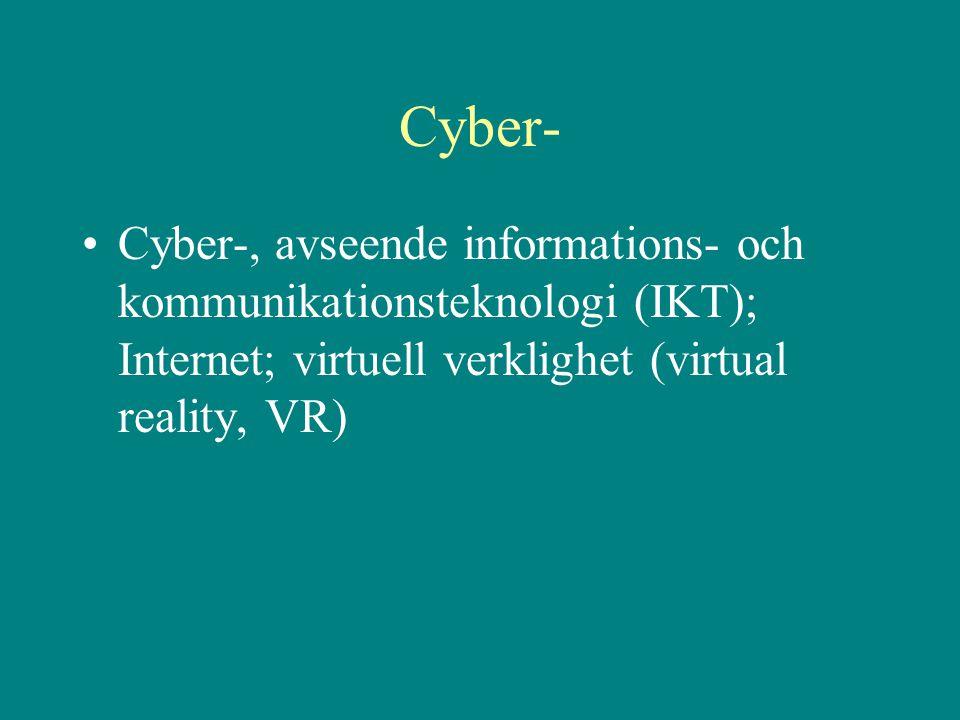 Cyber- Cyber-, avseende informations- och kommunikationsteknologi (IKT); Internet; virtuell verklighet (virtual reality, VR)
