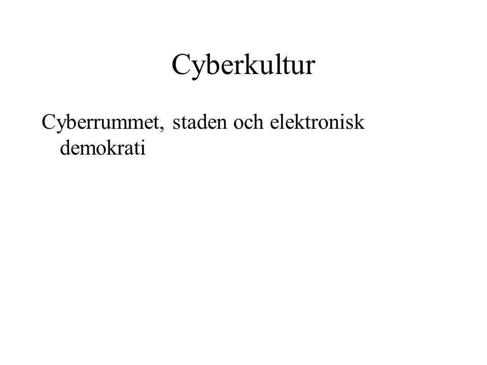 Cyberkultur Cyberrummet, staden och elektronisk demokrati