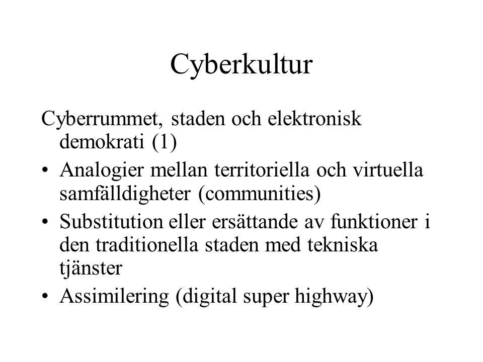 Cyberkultur Cyberrummet, staden och elektronisk demokrati (1)
