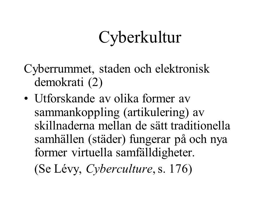 Cyberkultur Cyberrummet, staden och elektronisk demokrati (2)