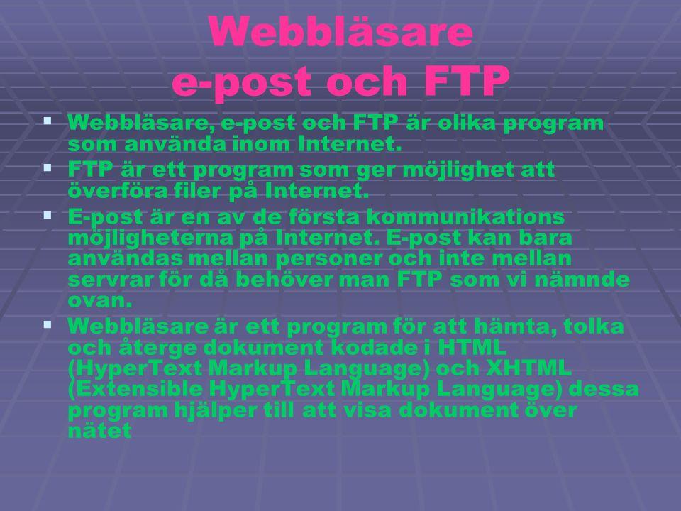 Webbläsare e-post och FTP