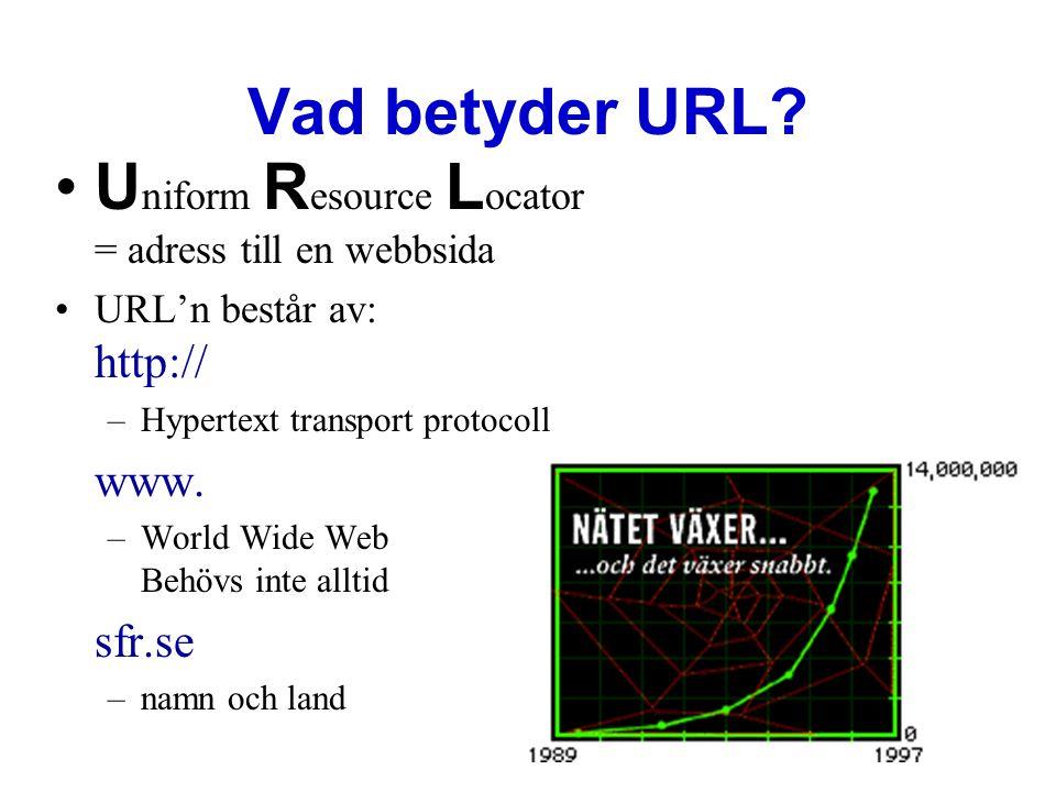 Uniform Resource Locator = adress till en webbsida