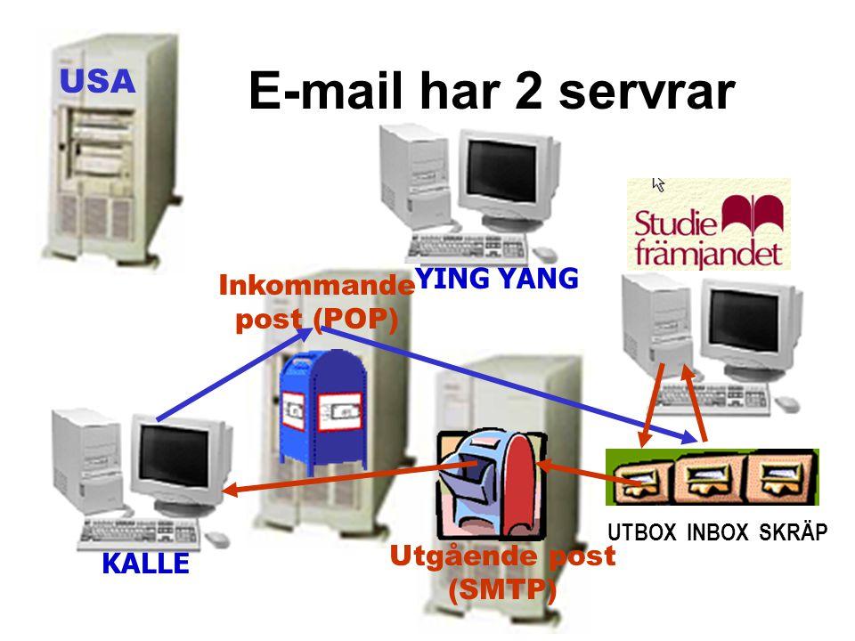 E-mail har 2 servrar USA YING YANG Inkommande post (POP)