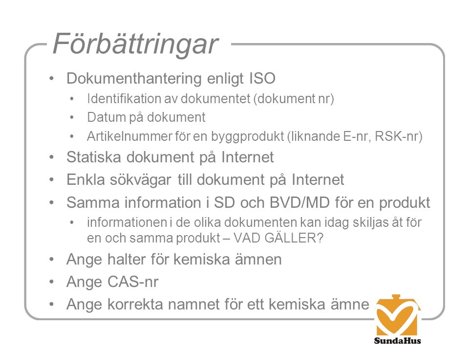 Förbättringar Dokumenthantering enligt ISO