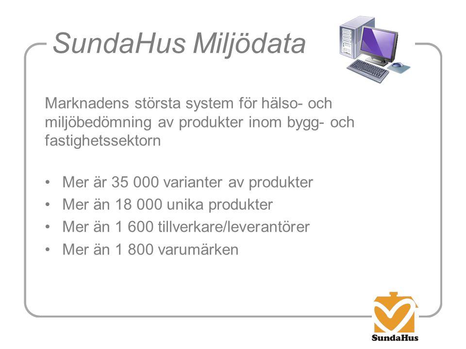 SundaHus Miljödata Marknadens största system för hälso- och miljöbedömning av produkter inom bygg- och fastighetssektorn.