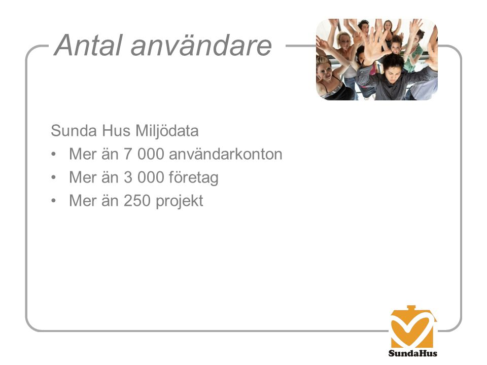 Antal användare Sunda Hus Miljödata Mer än 7 000 användarkonton