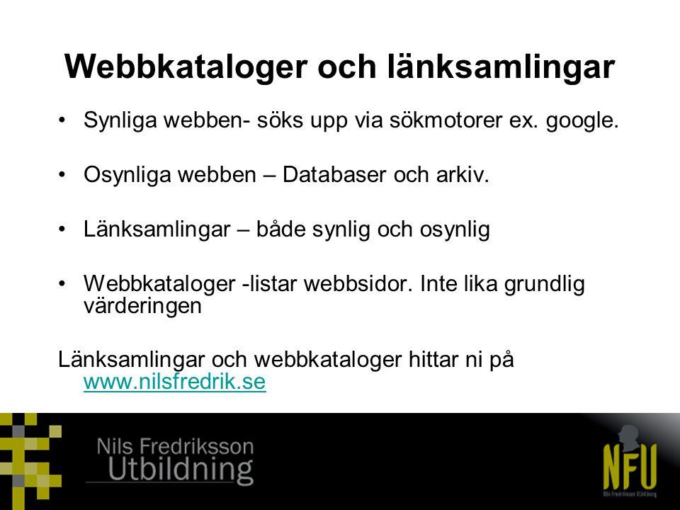 Webbkataloger och länksamlingar
