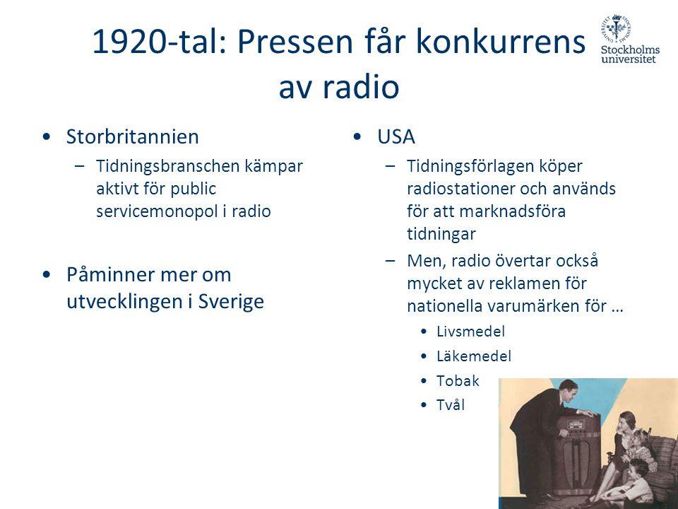 1920-tal: Pressen får konkurrens av radio