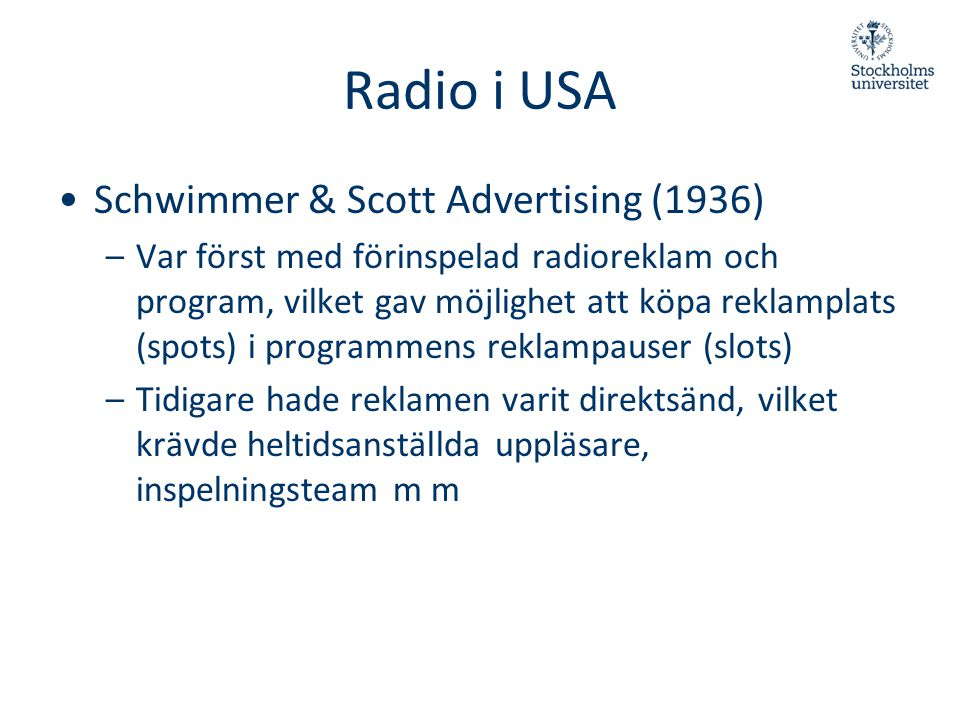 Radio i USA Schwimmer & Scott Advertising (1936)