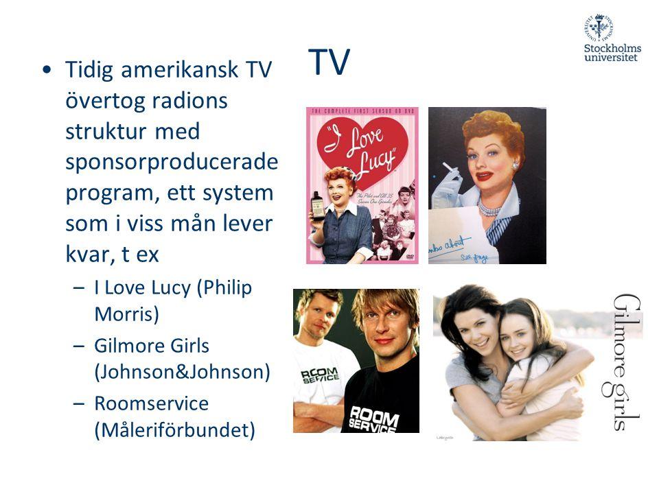 TV Tidig amerikansk TV övertog radions struktur med sponsorproducerade program, ett system som i viss mån lever kvar, t ex.