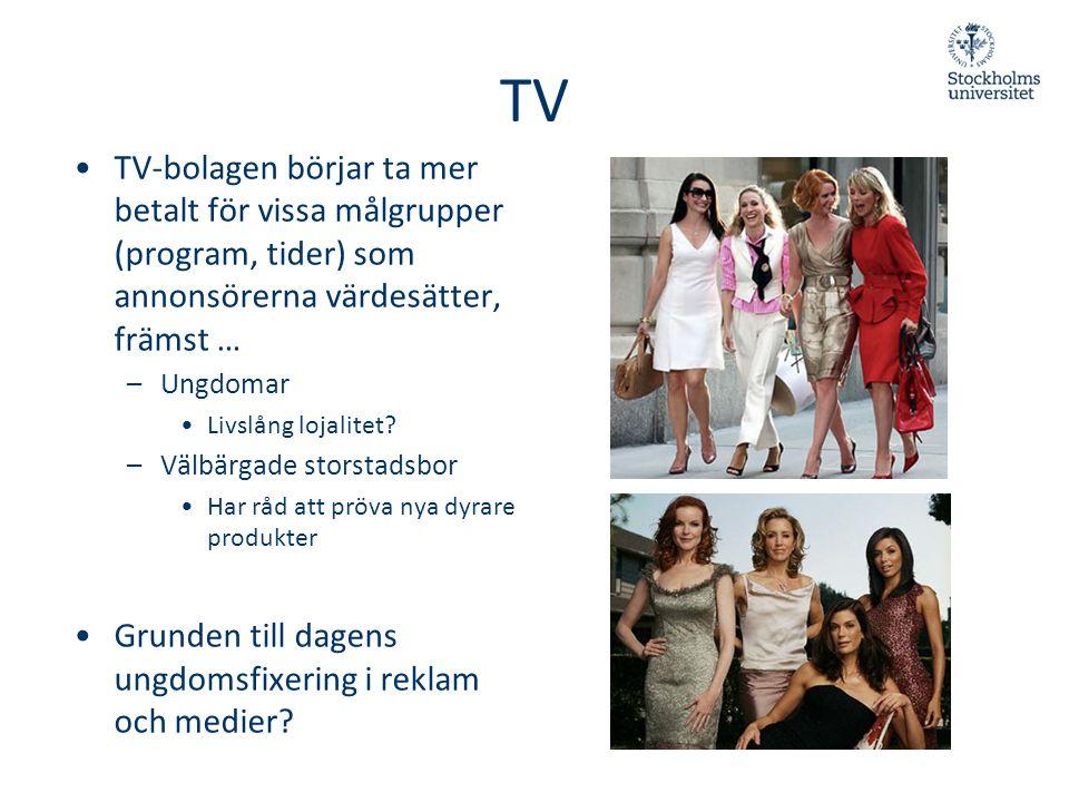 TV TV-bolagen börjar ta mer betalt för vissa målgrupper (program, tider) som annonsörerna värdesätter, främst …