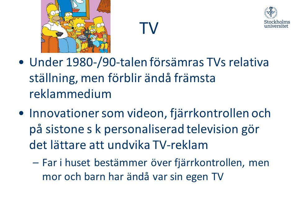 TV Under 1980-/90-talen försämras TVs relativa ställning, men förblir ändå främsta reklammedium.