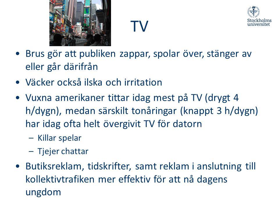 TV Brus gör att publiken zappar, spolar över, stänger av eller går därifrån. Väcker också ilska och irritation.