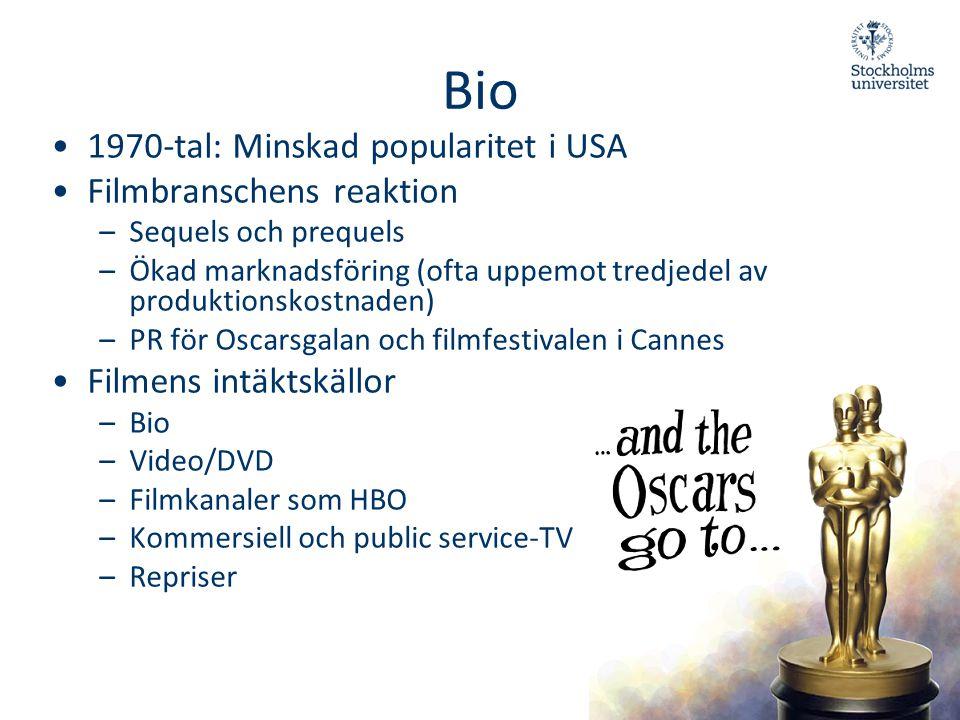 Bio 1970-tal: Minskad popularitet i USA Filmbranschens reaktion