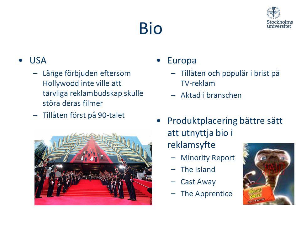 Bio USA. Länge förbjuden eftersom Hollywood inte ville att tarvliga reklambudskap skulle störa deras filmer.