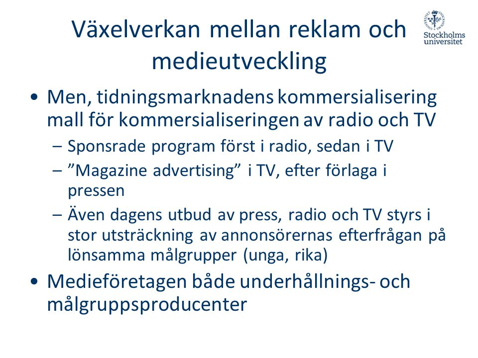 Växelverkan mellan reklam och medieutveckling