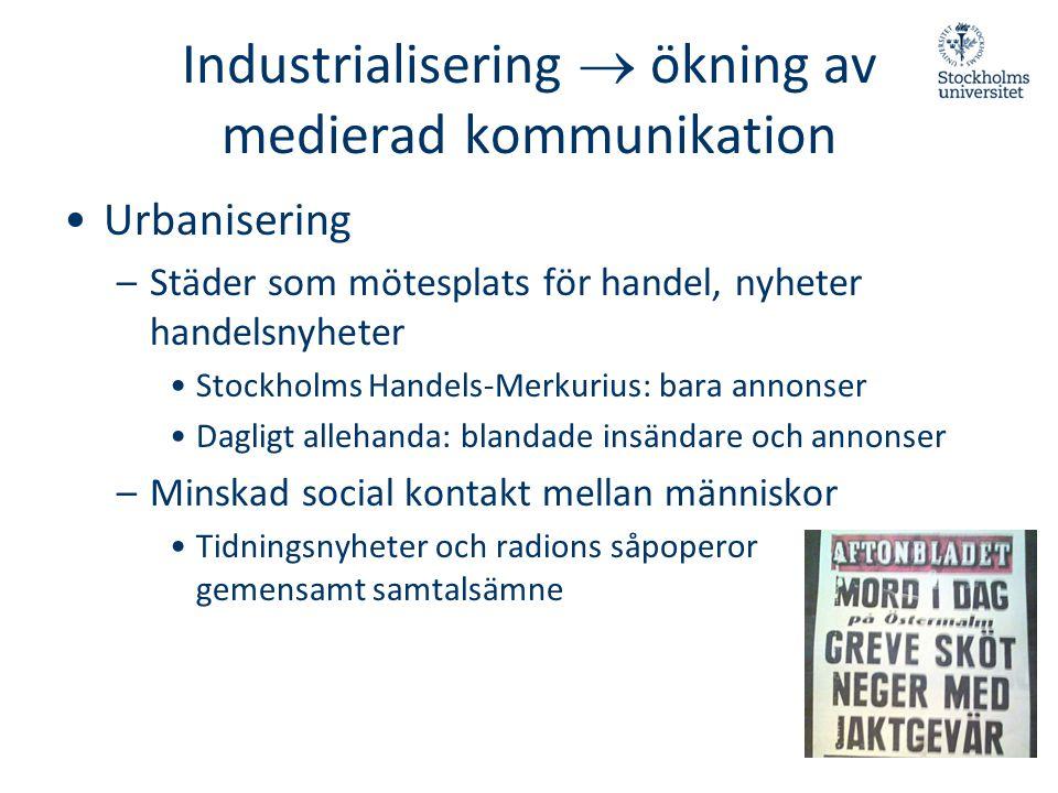Industrialisering  ökning av medierad kommunikation