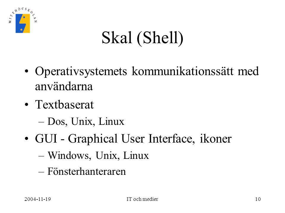 Skal (Shell) Operativsystemets kommunikationssätt med användarna