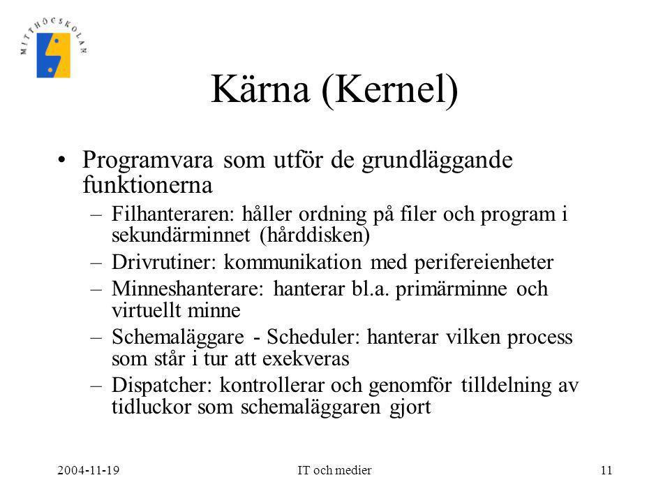 Kärna (Kernel) Programvara som utför de grundläggande funktionerna
