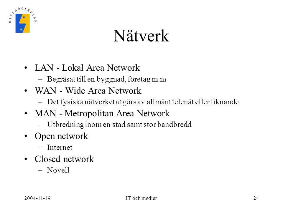 Nätverk LAN - Lokal Area Network WAN - Wide Area Network