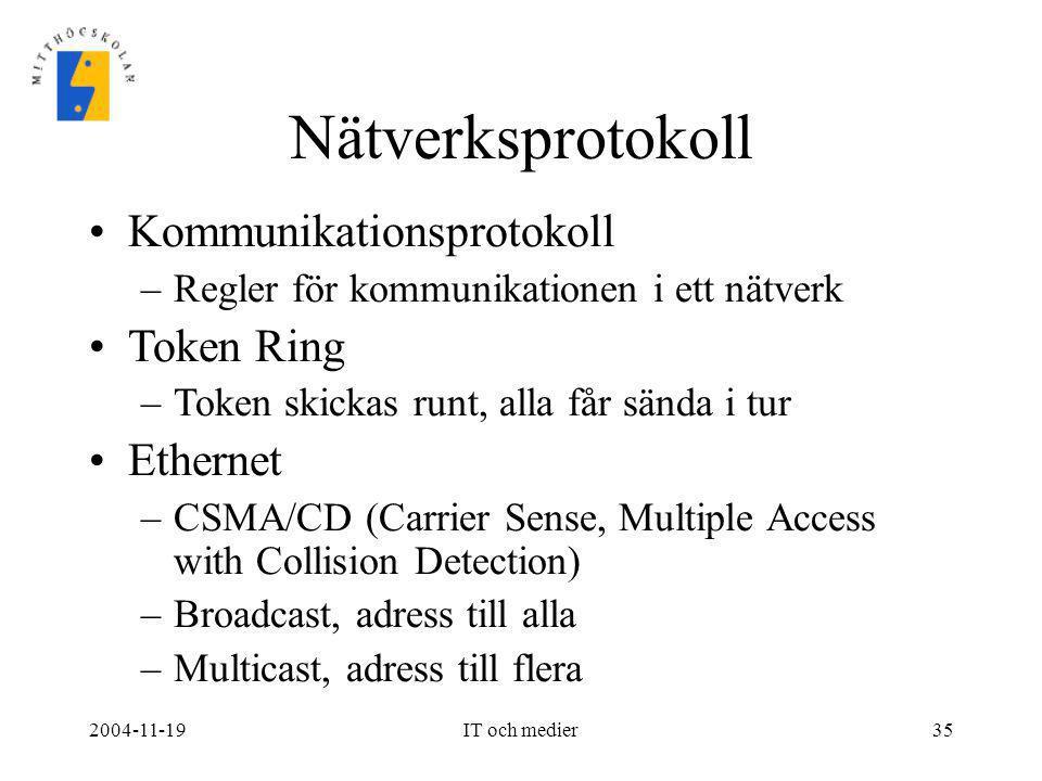 Nätverksprotokoll Kommunikationsprotokoll Token Ring Ethernet