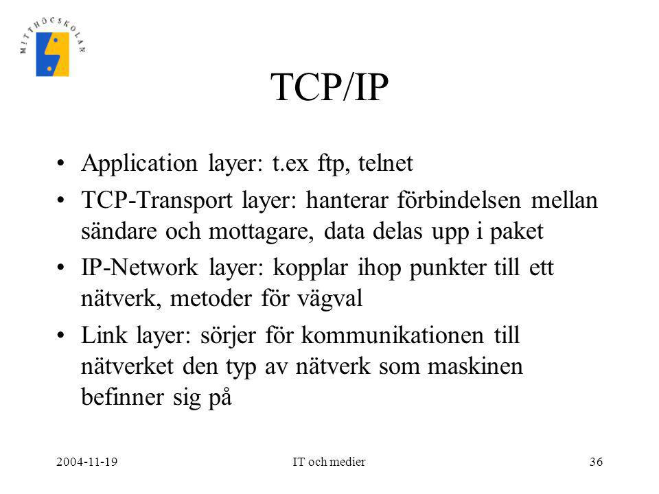 TCP/IP Application layer: t.ex ftp, telnet