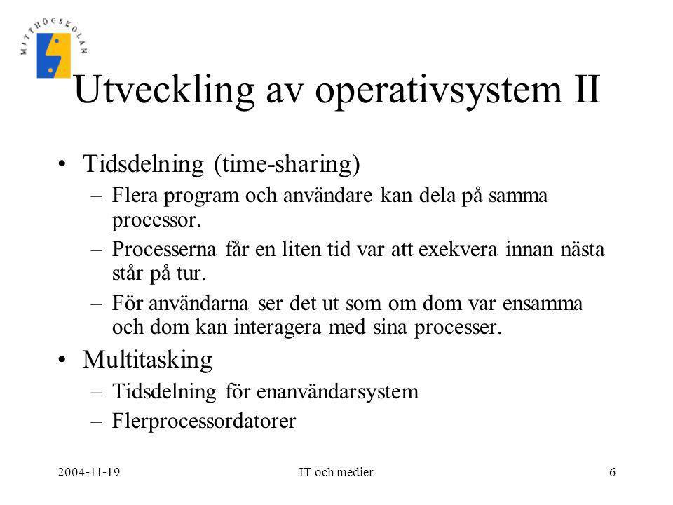 Utveckling av operativsystem II