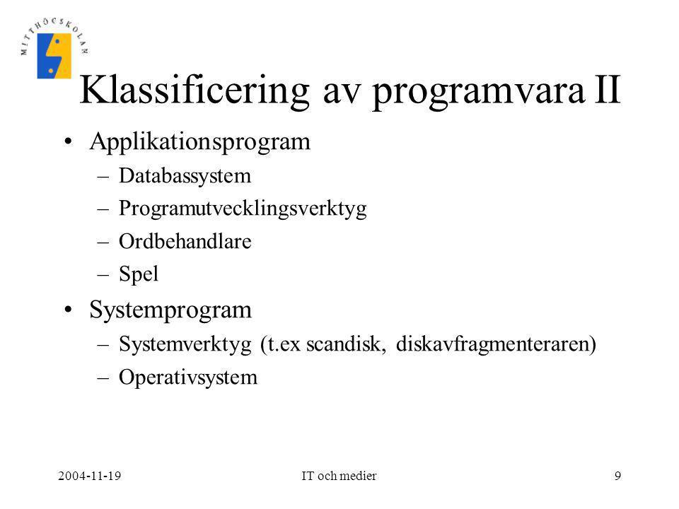 Klassificering av programvara II