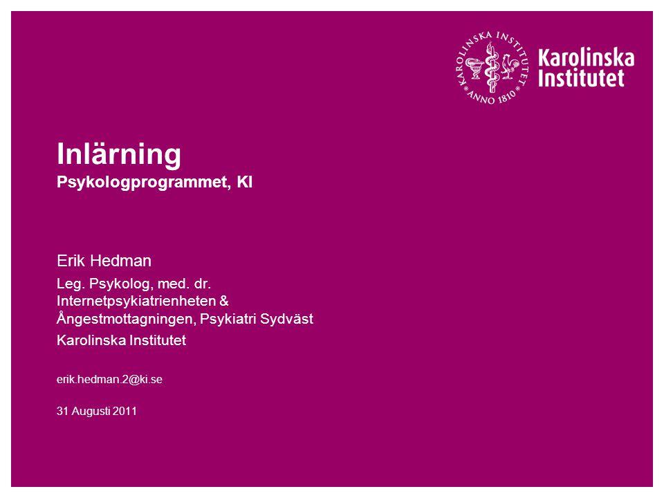 Inlärning Psykologprogrammet, KI