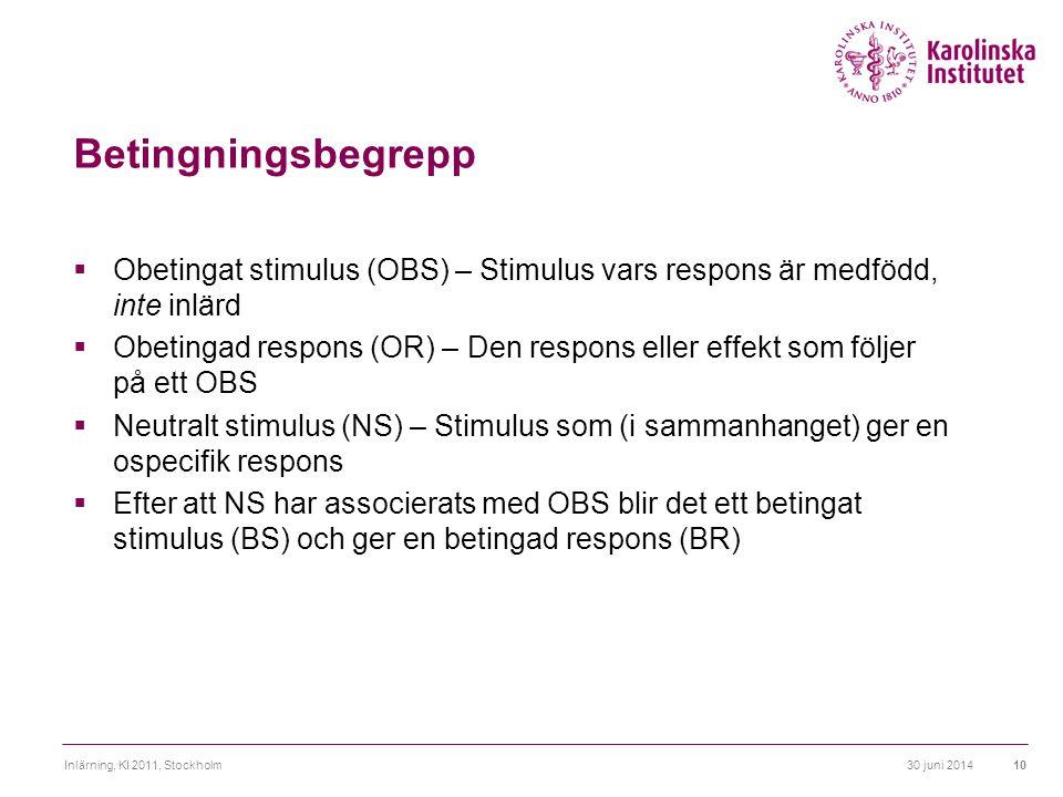 Betingningsbegrepp Obetingat stimulus (OBS) – Stimulus vars respons är medfödd, inte inlärd.
