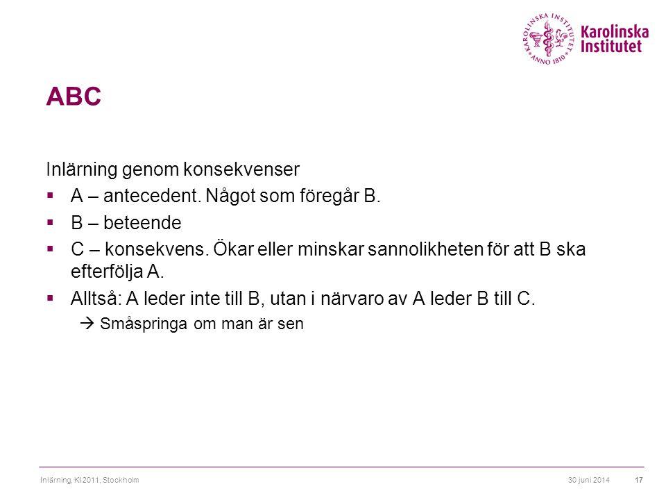 ABC Inlärning genom konsekvenser A – antecedent. Något som föregår B.