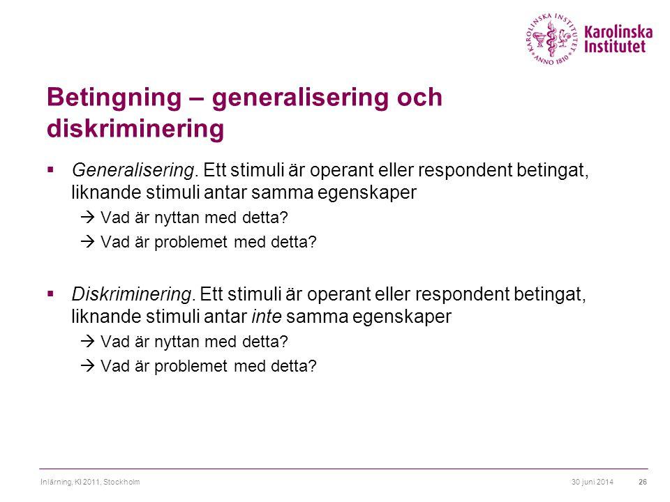 Betingning – generalisering och diskriminering