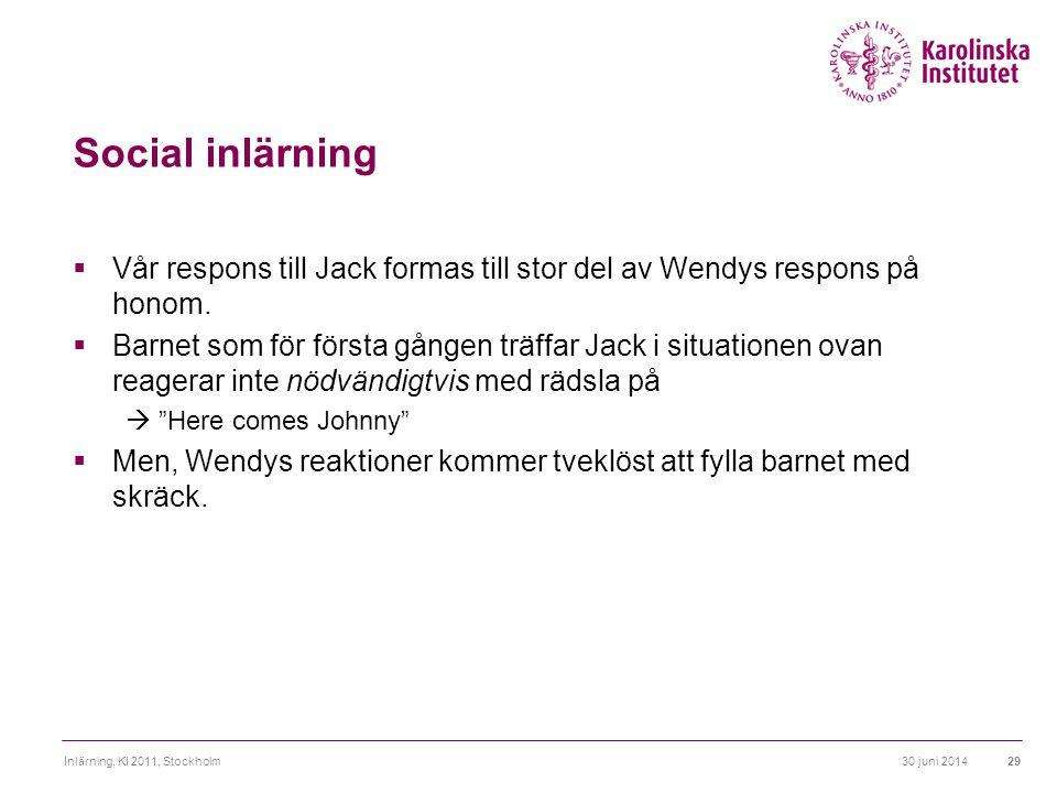 Social inlärning Vår respons till Jack formas till stor del av Wendys respons på honom.