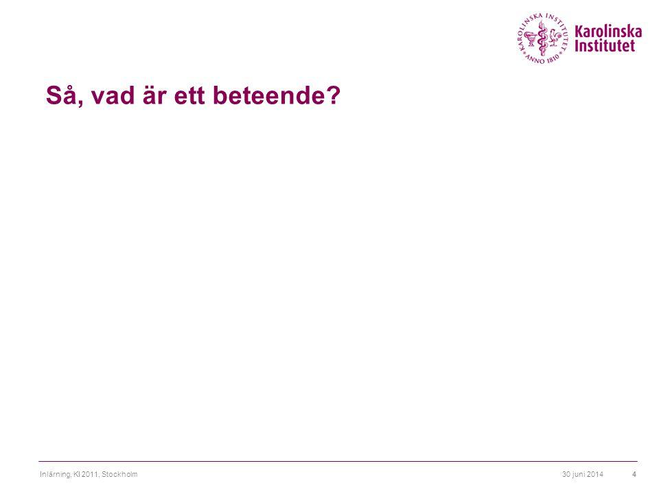 Så, vad är ett beteende Inlärning, KI 2011, Stockholm 3 april 2017