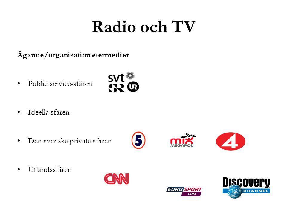 Radio och TV Ägande/organisation etermedier Public service-sfären